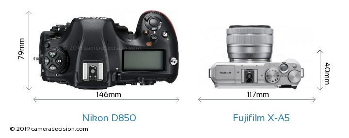 Nikon D850 vs Fujifilm X-A5 Camera Size Comparison - Top View