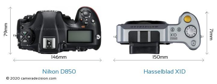 Nikon D850 vs Hasselblad X1D Camera Size Comparison - Top View