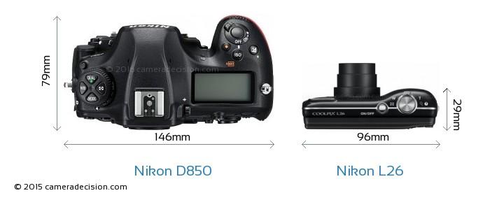 Nikon D850 vs Nikon L26 Camera Size Comparison - Top View