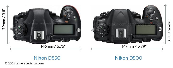 Nikon D850 vs Nikon D500 Camera Size Comparison - Top View