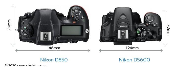 Nikon D850 vs Nikon D5600 Camera Size Comparison - Top View