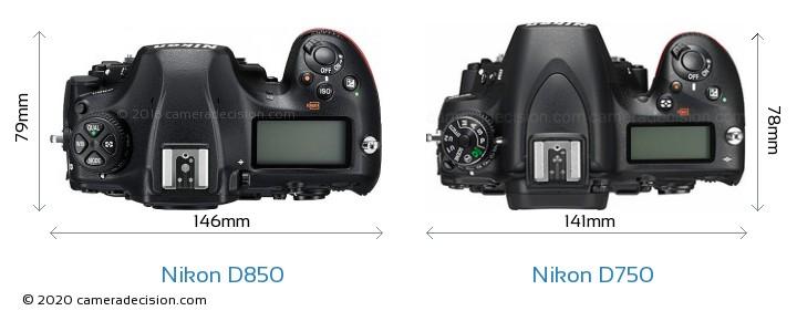 Nikon D850 vs Nikon D750 Camera Size Comparison - Top View