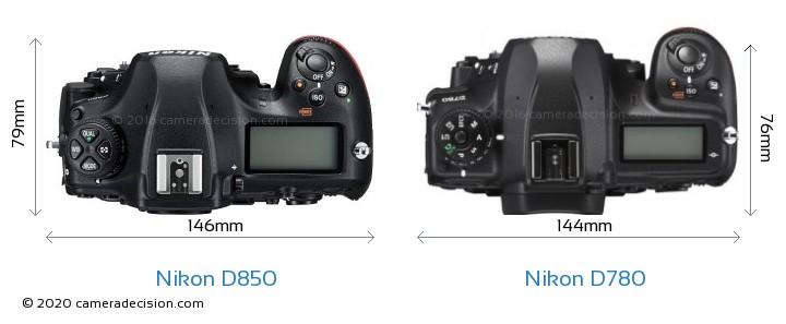 Nikon D850 vs Nikon D780 Camera Size Comparison - Top View