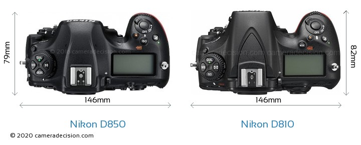 Nikon D850 vs Nikon D810 Camera Size Comparison - Top View