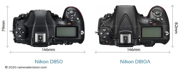 Nikon D850 vs Nikon D810A Camera Size Comparison - Top View