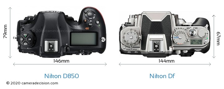 Nikon D850 vs Nikon Df Camera Size Comparison - Top View