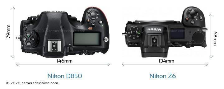 Nikon D850 vs Nikon Z 6 Camera Size Comparison - Top View