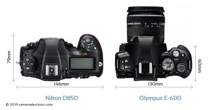 Nikon D850 vs Olympus E-600 Camera Size Comparison - Top View