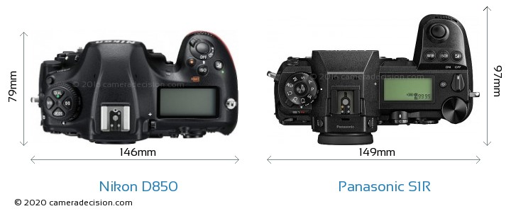 Nikon D850 vs Panasonic S1R Camera Size Comparison - Top View