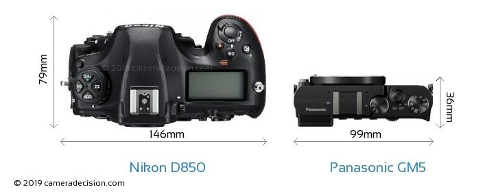 Nikon D850 vs Panasonic GM5 Camera Size Comparison - Top View