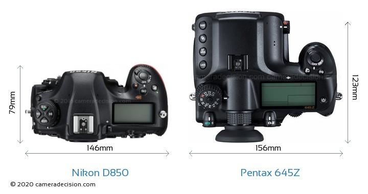 Nikon D850 vs Pentax 645Z Camera Size Comparison - Top View