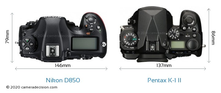 Nikon D850 vs Pentax K-1 II Camera Size Comparison - Top View