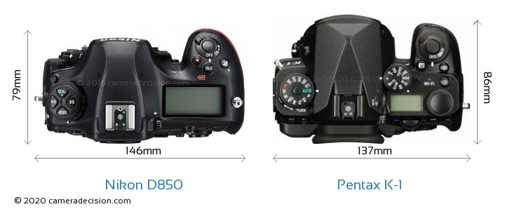 Nikon D850 vs Pentax K-1 Camera Size Comparison - Top View