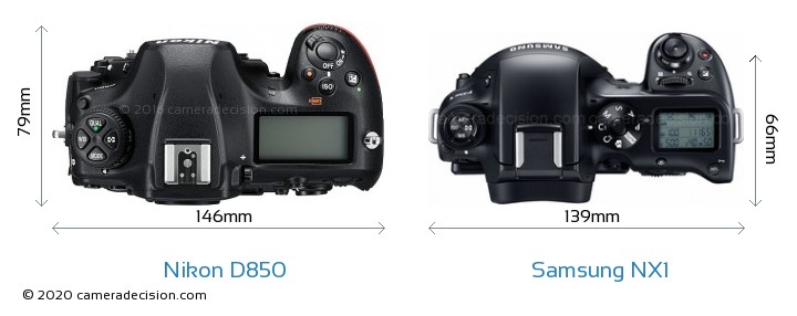 Nikon D850 vs Samsung NX1 Camera Size Comparison - Top View