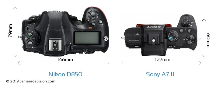 Nikon D850 vs Sony A7 II Camera Size Comparison - Top View