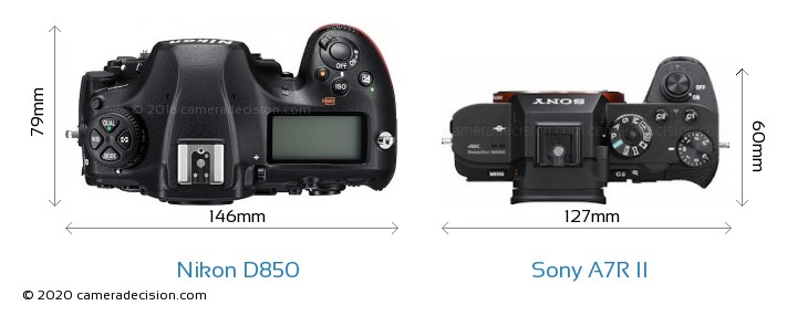 Nikon D850 vs Sony A7R II Camera Size Comparison - Top View