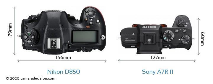 Nikon D850 vs Sony A7R II Camera Size Comparison - Top View