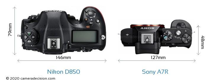 Nikon D850 vs Sony A7R Camera Size Comparison - Top View