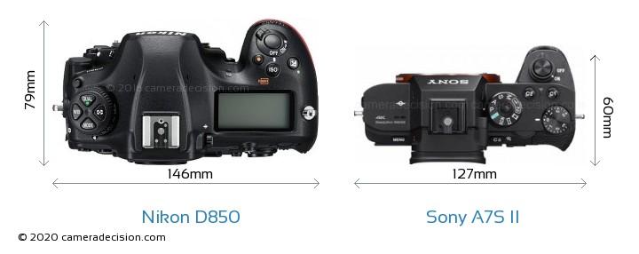 Nikon D850 vs Sony A7S II Camera Size Comparison - Top View