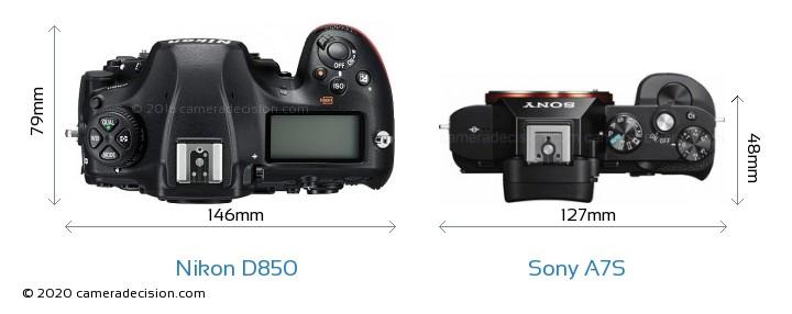 Nikon D850 vs Sony A7S Camera Size Comparison - Top View