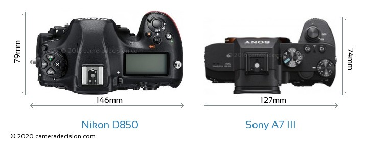 Nikon D850 vs Sony A7 III Camera Size Comparison - Top View