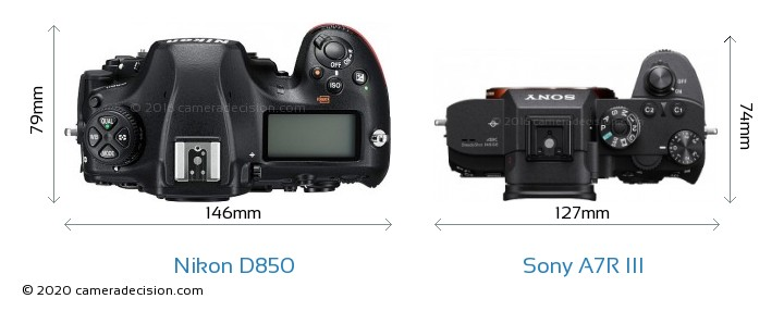 Nikon D850 vs Sony A7R III Camera Size Comparison - Top View