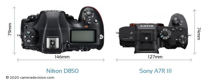 Nikon D850 vs Sony A7R III Camera Size Comparison - Top View