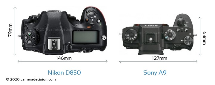 Nikon D850 vs Sony A9 Camera Size Comparison - Top View