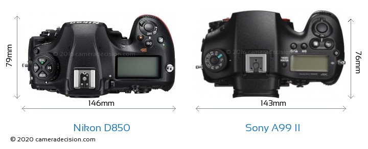 Nikon D850 vs Sony A99 II Camera Size Comparison - Top View