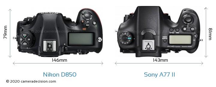 Nikon D850 vs Sony A77 II Camera Size Comparison - Top View