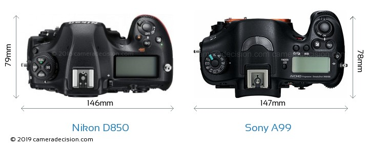 Nikon D850 vs Sony A99 Camera Size Comparison - Top View