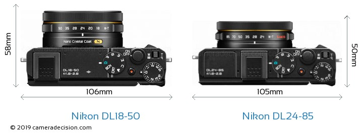 Nikon DL18-50 vs Nikon DL24-85 Camera Size Comparison - Top View