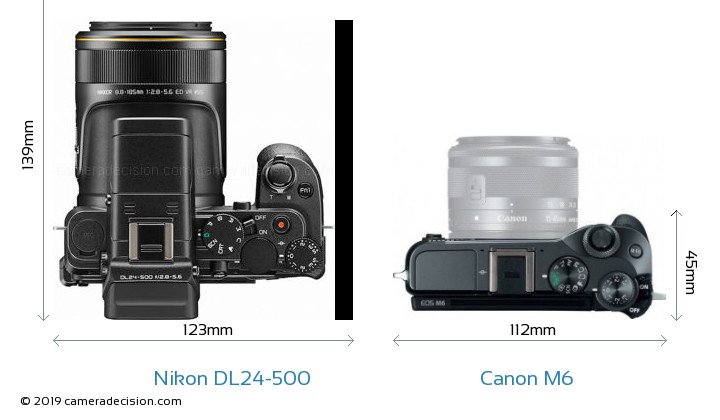 Nikon DL24-500 vs Canon M6 Camera Size Comparison - Top View
