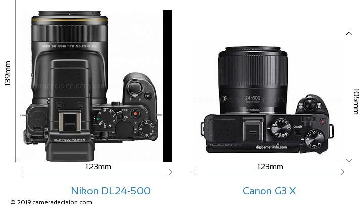 Nikon DL24-500 vs Canon G3 X Camera Size Comparison - Top View