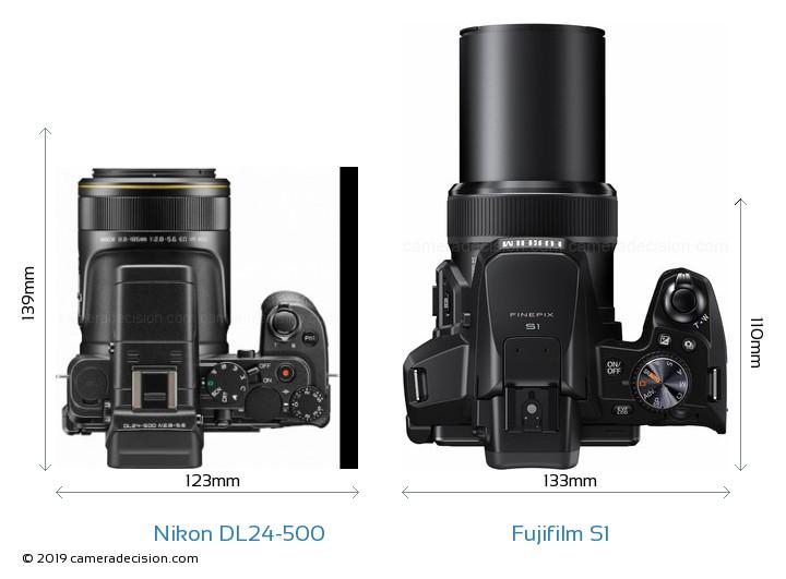 Nikon DL24-500 vs Fujifilm S1 Camera Size Comparison - Top View