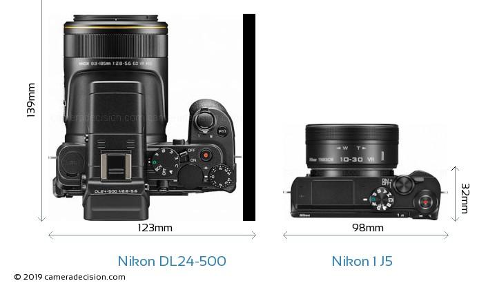 Nikon DL24-500 vs Nikon 1 J5 Camera Size Comparison - Top View
