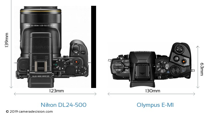 Nikon DL24-500 vs Olympus E-M1 Camera Size Comparison - Top View