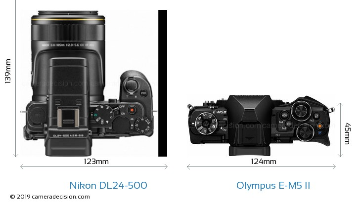 Nikon DL24-500 vs Olympus E-M5 II Camera Size Comparison - Top View