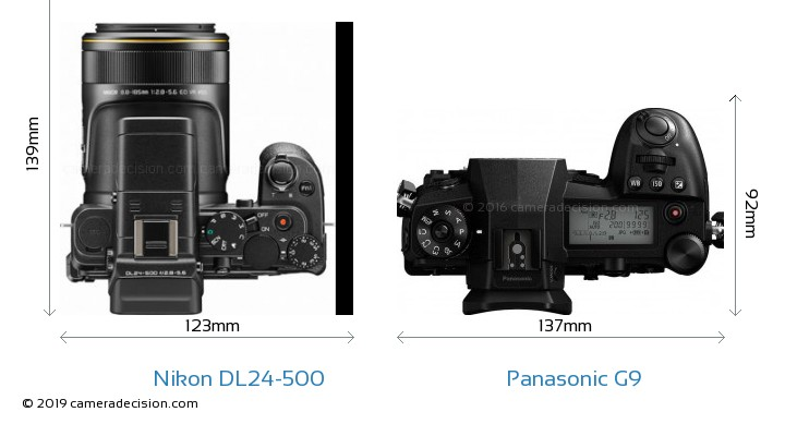 Nikon DL24-500 vs Panasonic G9 Camera Size Comparison - Top View