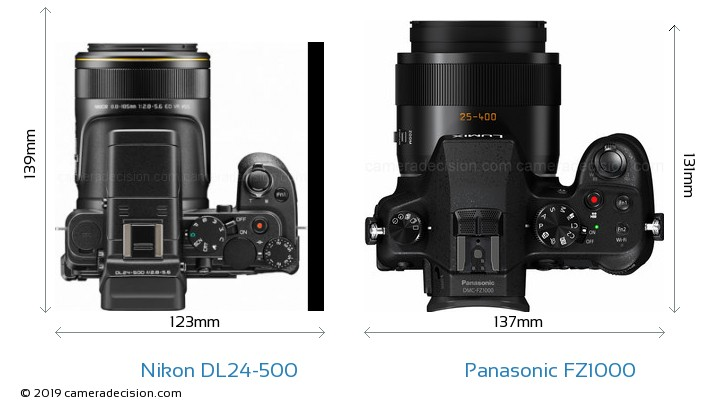 Nikon DL24-500 vs Panasonic FZ1000 Camera Size Comparison - Top View