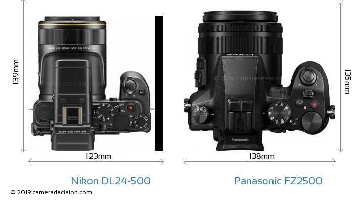 Nikon DL24-500 vs Panasonic FZ2500 Camera Size Comparison - Top View