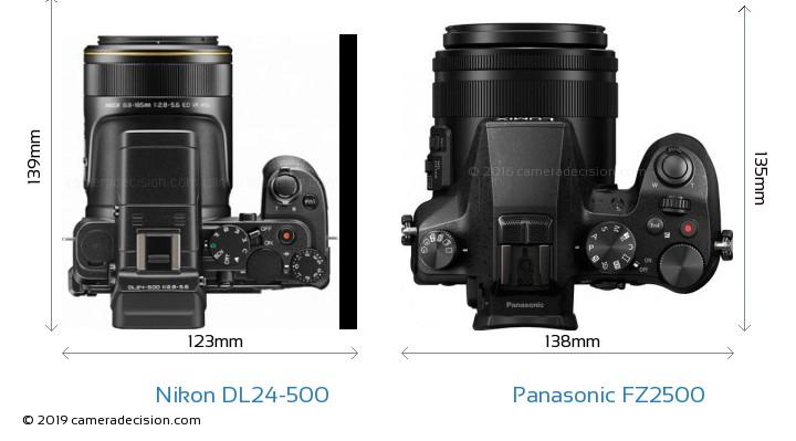 Nikon DL24-500 vs Panasonic FZ2500 Camera Size Comparison - Top View