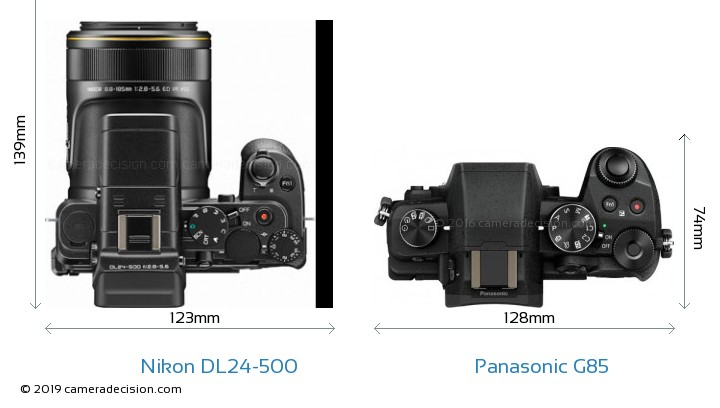Nikon DL24-500 vs Panasonic G85 Camera Size Comparison - Top View
