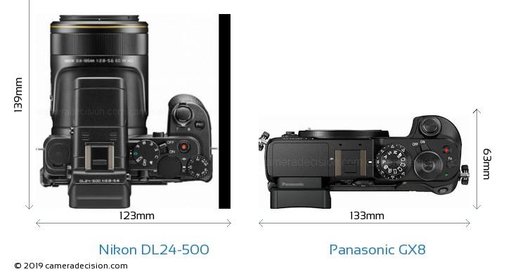 Nikon DL24-500 vs Panasonic GX8 Camera Size Comparison - Top View