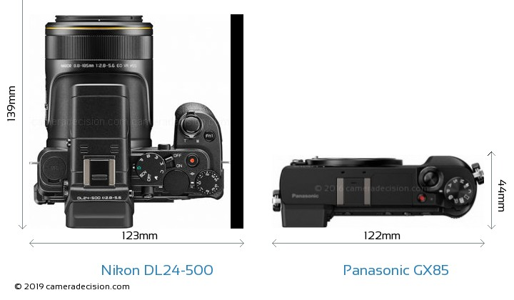 Nikon DL24-500 vs Panasonic GX85 Camera Size Comparison - Top View