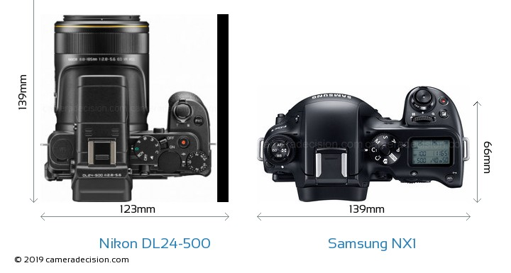 Nikon DL24-500 vs Samsung NX1 Camera Size Comparison - Top View
