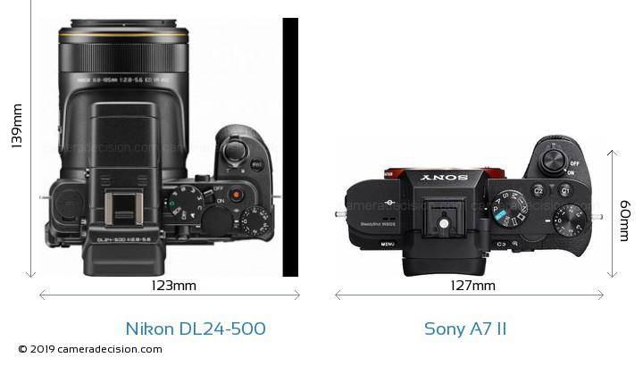Nikon DL24-500 vs Sony A7 II Camera Size Comparison - Top View