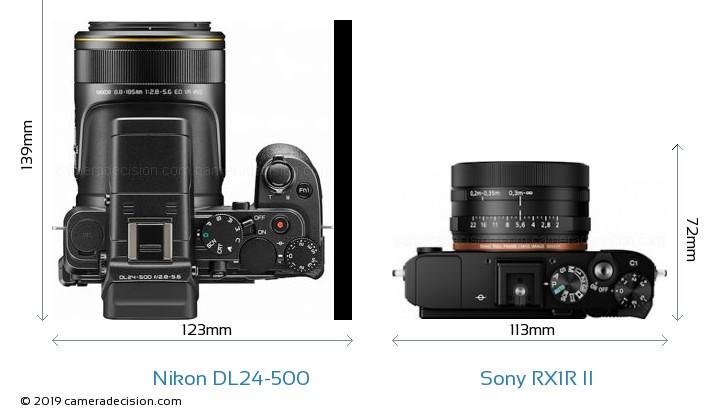Nikon DL24-500 vs Sony RX1R II Camera Size Comparison - Top View