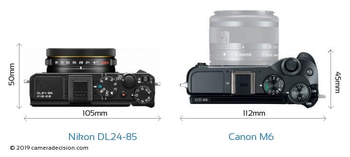 Nikon DL24-85 vs Canon M6 Camera Size Comparison - Top View