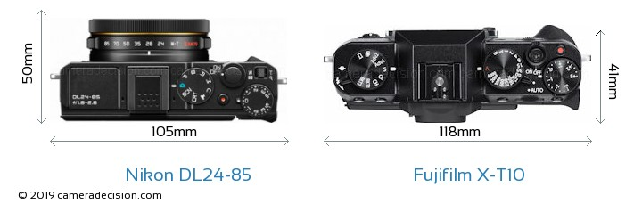 Nikon DL24-85 vs Fujifilm X-T10 Camera Size Comparison - Top View